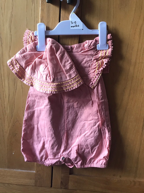 M&S romper with matching hat 3-6 months