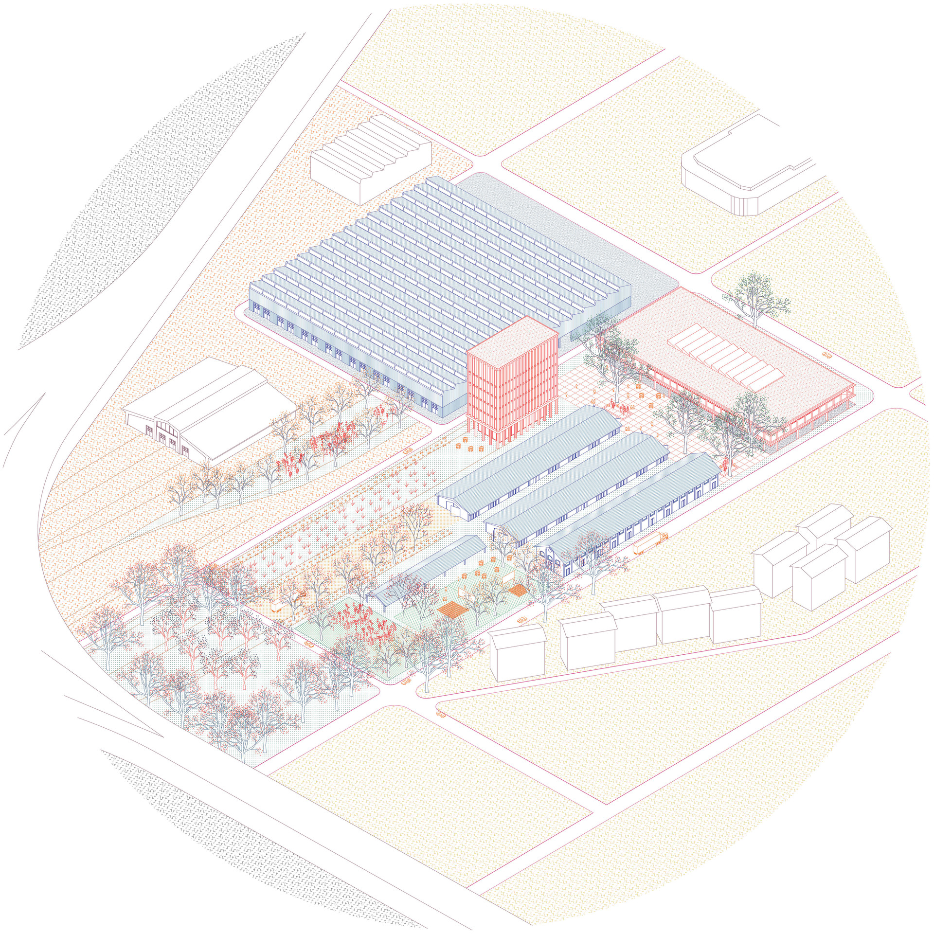 axonometric of the site
