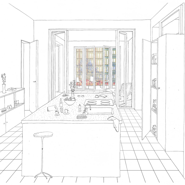interior . enfilade of spaces