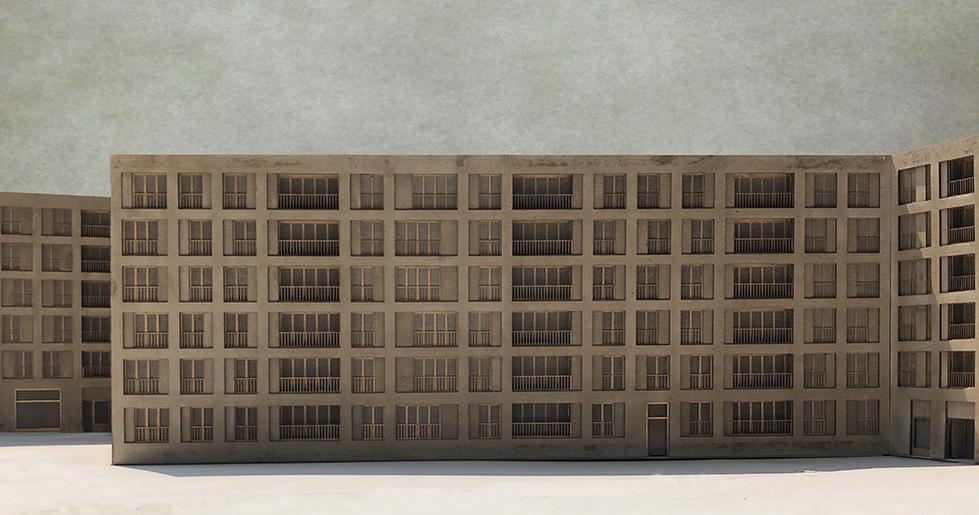 facade to railway tracks
