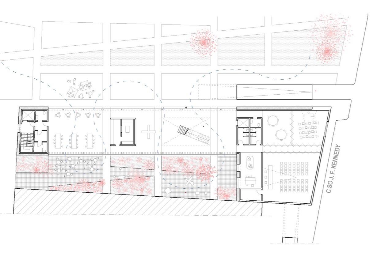 ground floor  .  café bookshop courtyard conference spaces