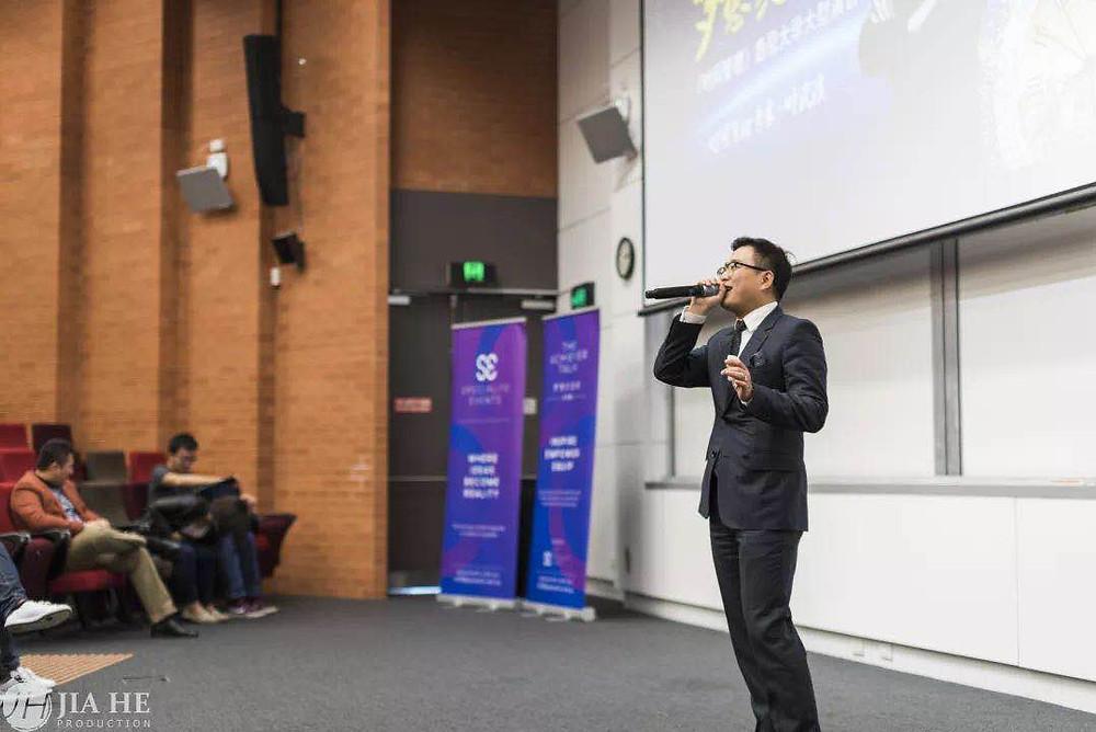A man is giving a speech