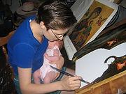 Elizabeth Jackson Hall, artist, painter, gilding