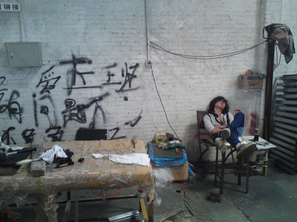 ouvrier chinois au repos, Foshan
