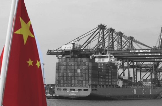 Port Tianjin bw red flag