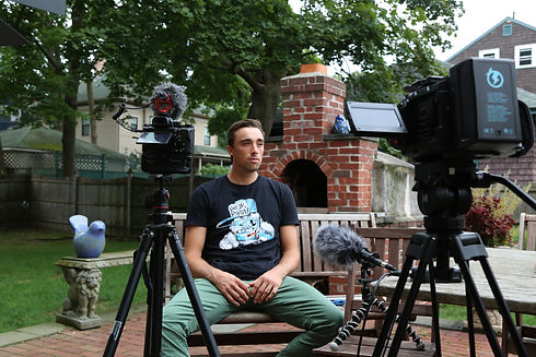Professional Video Equipment Filming Interview Subject Outdoor Interview