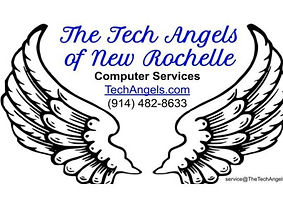 This image is The Tech Angels of New Rochelle logo: Angel wings and company contact information