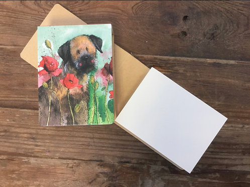 Border and Poppies small sticky notepad