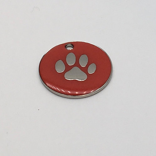 25mm Red Pet ID Tag Including Engraving