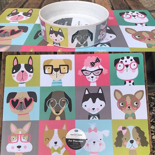 Dog Bowl and Matching Mat