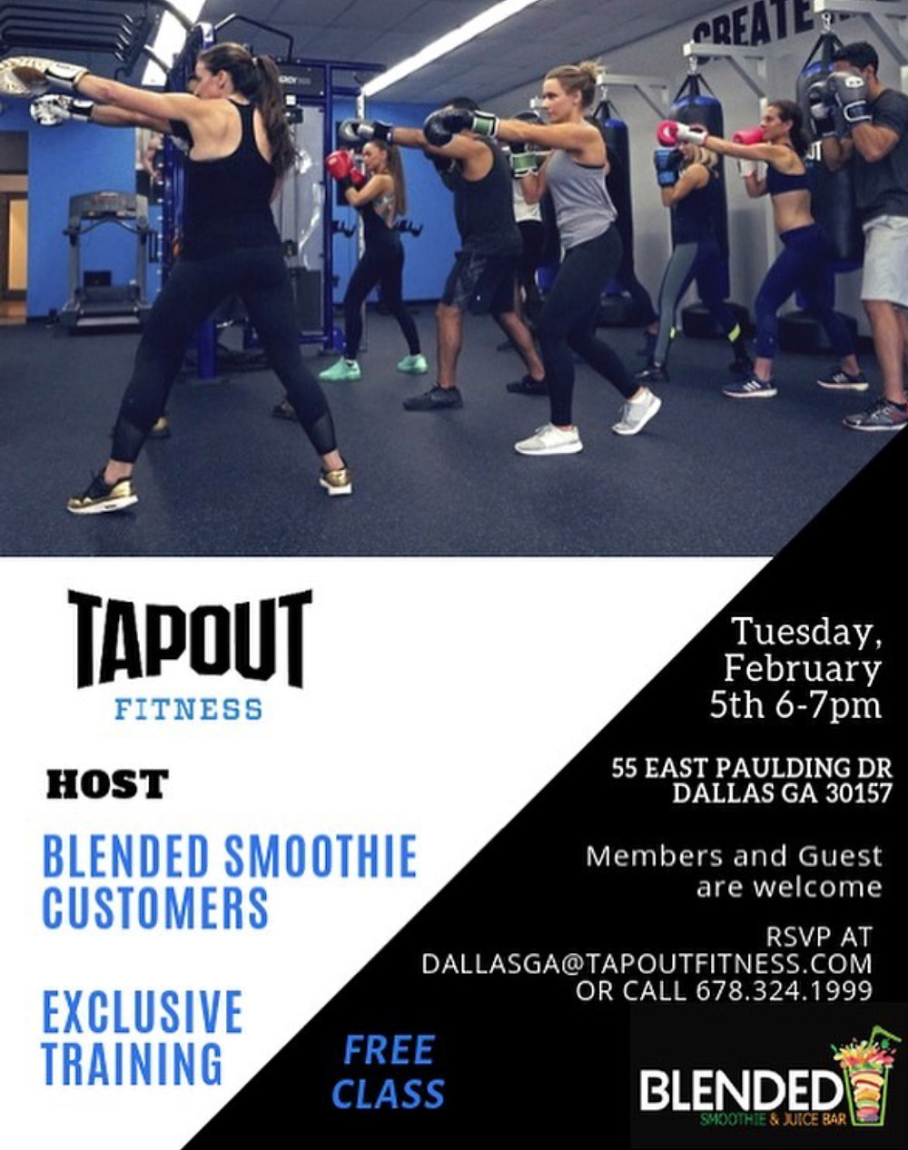 Free Fitness Class For All Blended Smoothie Juice Bar Customers