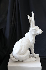 Unfired hare sculpture