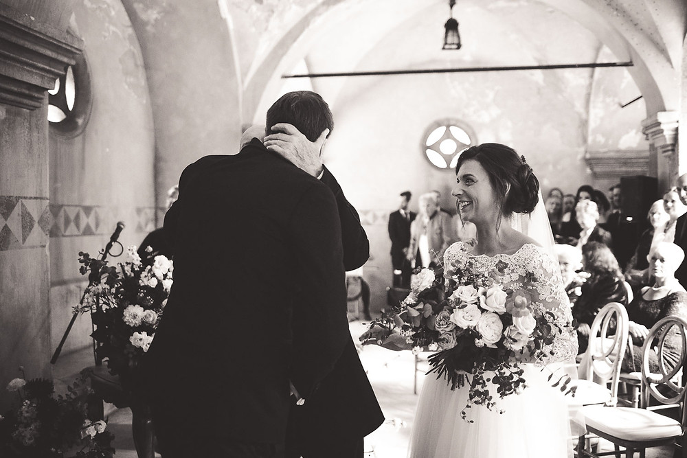 Wedding at the Vajdahunyad Castle in Budapest - father gives her father away