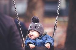 happy girl in the swing