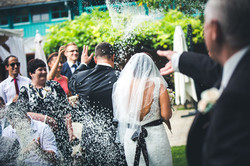 rice thrown on the newly weds