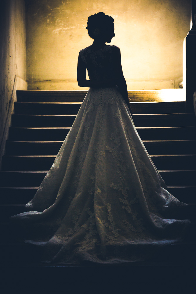 bridal portrait with a long dress