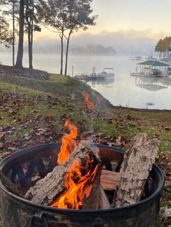 C foggy lake fire