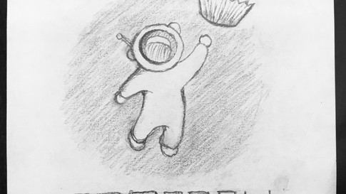 Space Themed Bakery Logo Sketch
