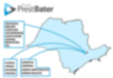 Mapa do estado de São Paulo com as áreas de atuação do Grupo PrestBater