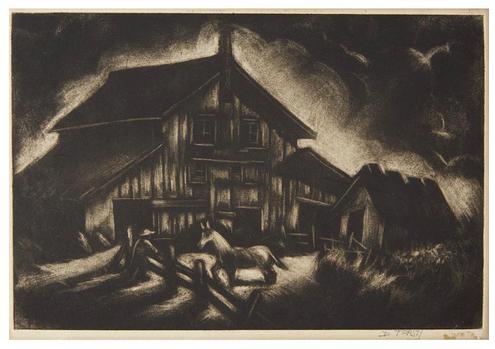 "Dox Thrash (American, 1893–1965) ""One Horse Farmer""  c. 1944-48, Ittmann 124 carborundum mezzotint  © Dox Thrash Estate, image courtesy: Dolan/Maxwell, Philadelphia."
