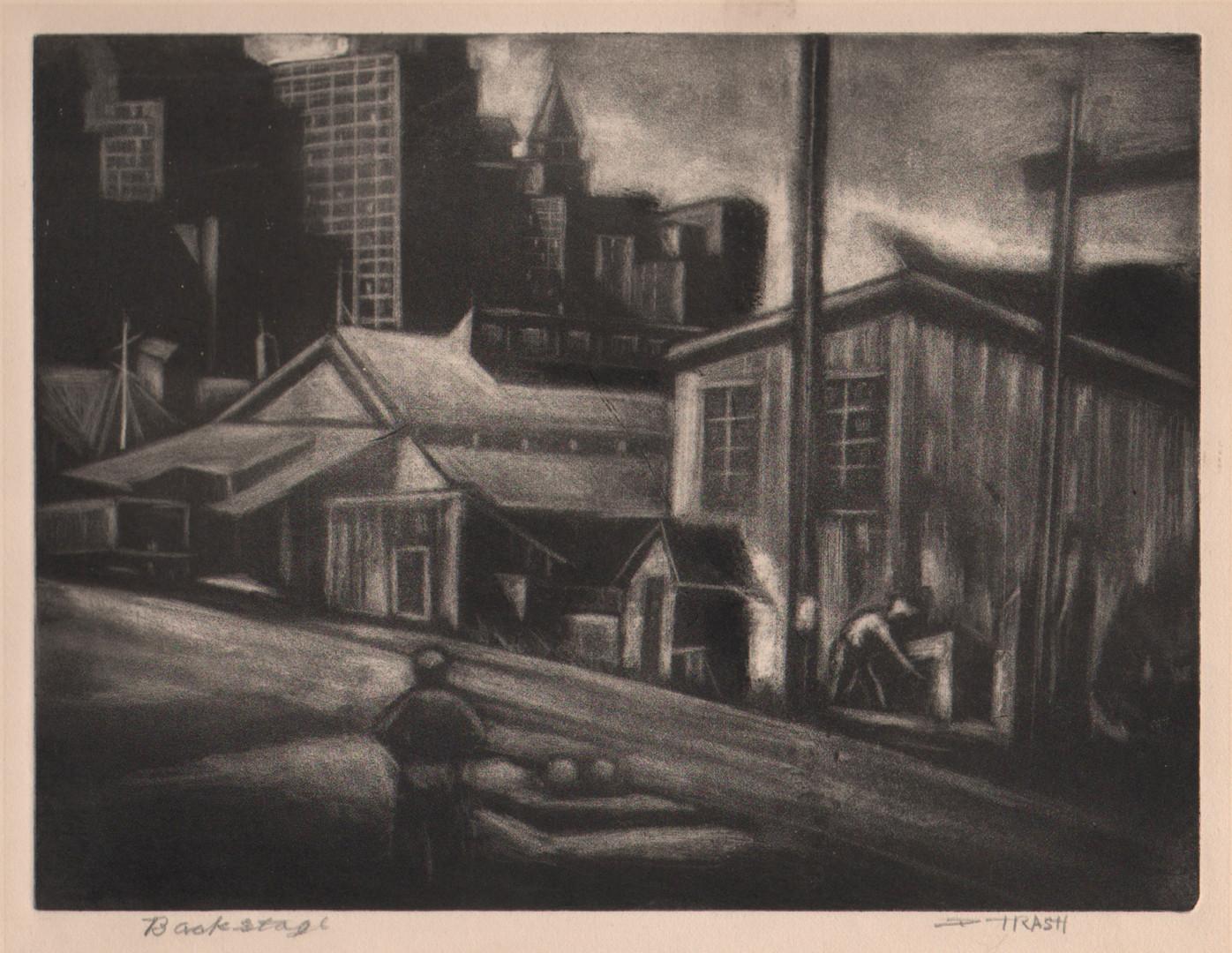 "Dox Thrash (American, 1893–1965),  ""Backstage""  c. 1939-40 carborundum mezzotint  © Dox Thrash Estate image courtesy: Dolan/Maxwell, Philadelphia."