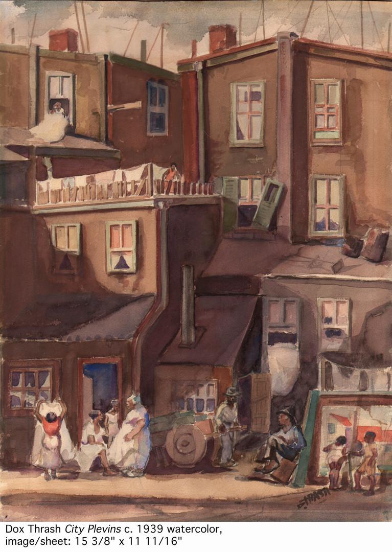 "Dox Thrash (American, 1893–1965) ""City Plevins"" c. 1940 watercolor © Dox Thrash Estate  image courtesy: Dolan/Maxwell, Philadelphia."