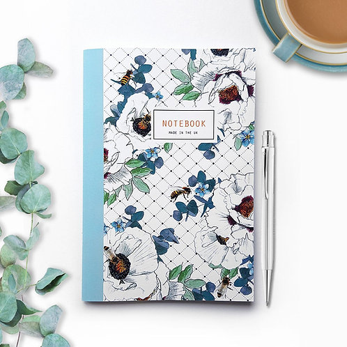 A5 'Bee Floral' Lined Notebook