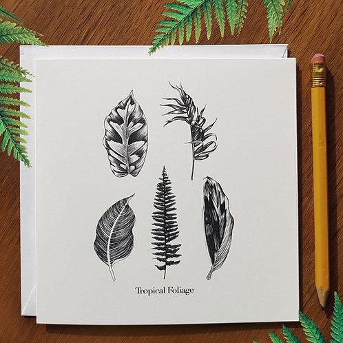 Tropical Foliage greetings card