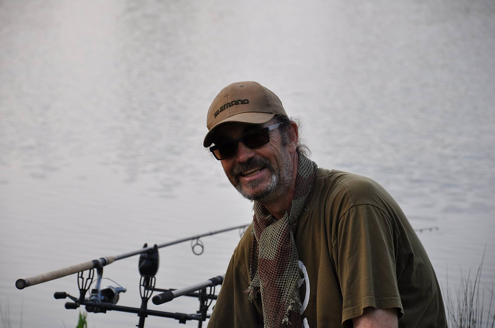Jan Porter, fishing, angling, Myton hospice, cancer, bowel cancer, charity cards, dontations, jan porter fishing, man in red, samantha parker design