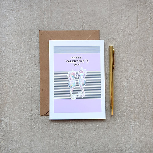 Seahorse Valentine's Card