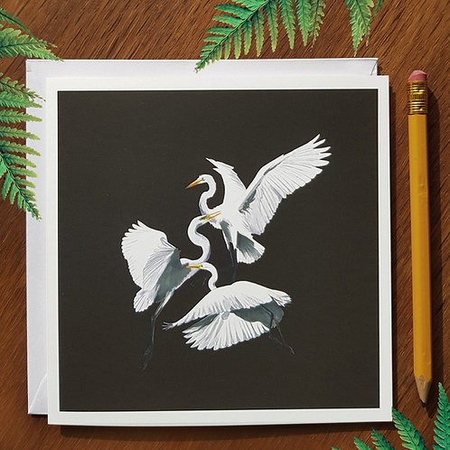 Three heron greetings card
