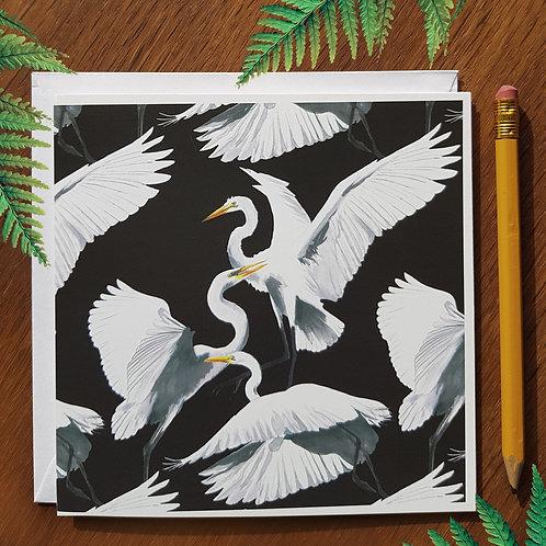 The three heron waltz greetings card