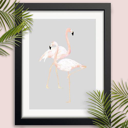 Two Flamingos Wall Art