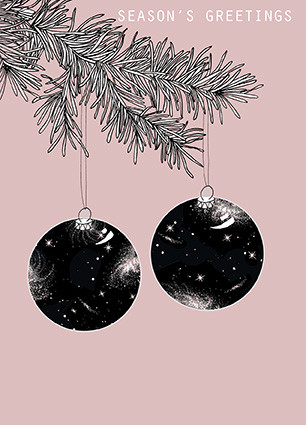 cosmic baubles, tree baubles, cosmic christmas, space christmas, baubles card, charity cards, eco friendly cards, multipack