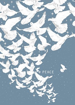 peace dove card, winter cards, merry christmas, cosmic christmas, space christmas