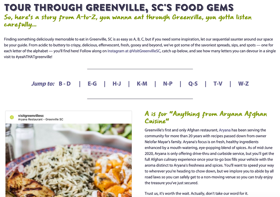 Greenville A-to-Z Food Tour - Instagram Exclusive, Webpage Archive