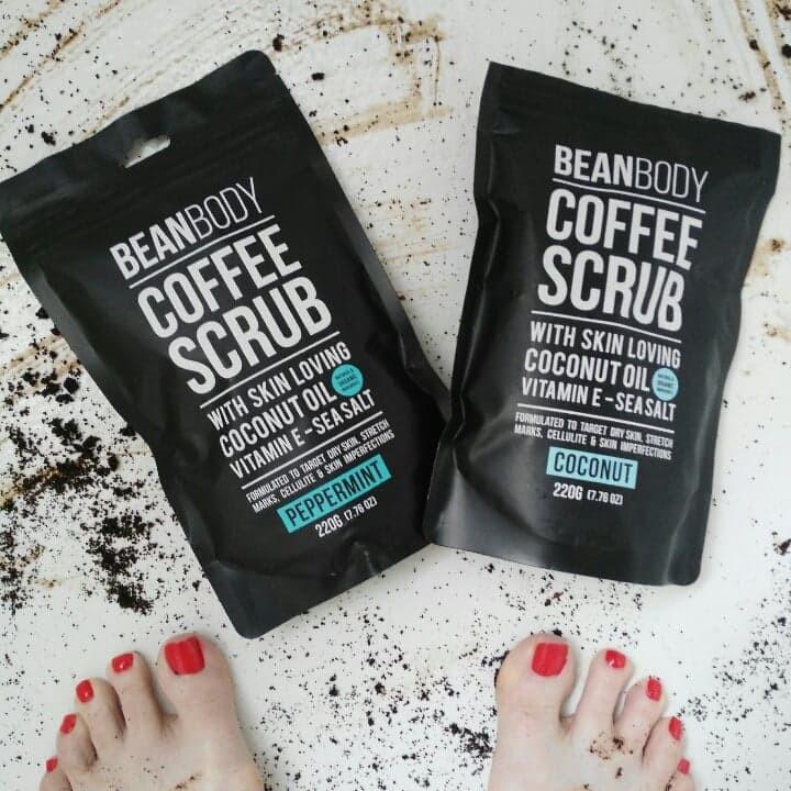 Bean Body Coffee Scrub on bottom of tub