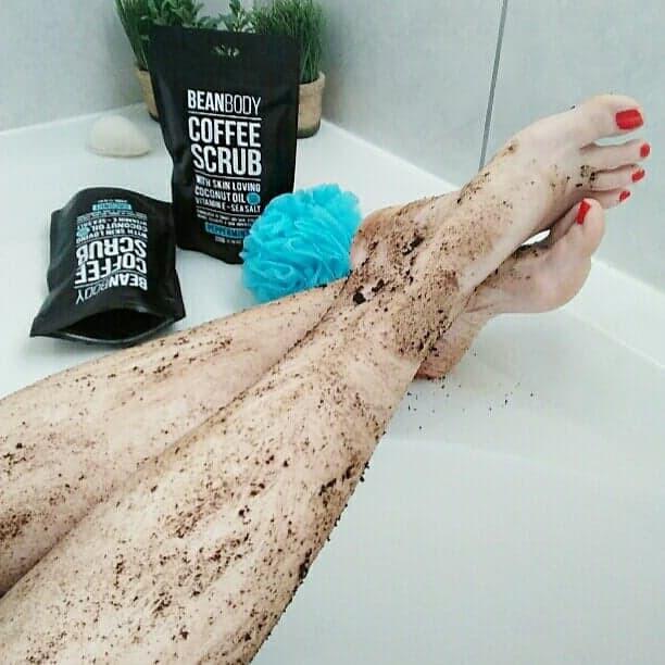 Texture of Bean Body Coffee Scrub on my legs
