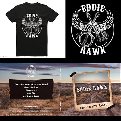 Eddie Rawk logo T-shirt and 'My Life's Road' EP bundle