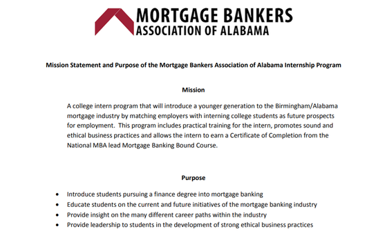Internship Opportunity- Mortgage Bankers Association of America