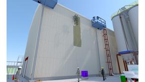昇降式足場とウインチを組み合わせ自由自在に壁面を動くスパイダーロボ!光洋機械産業とアイ・ロボティクスが開発