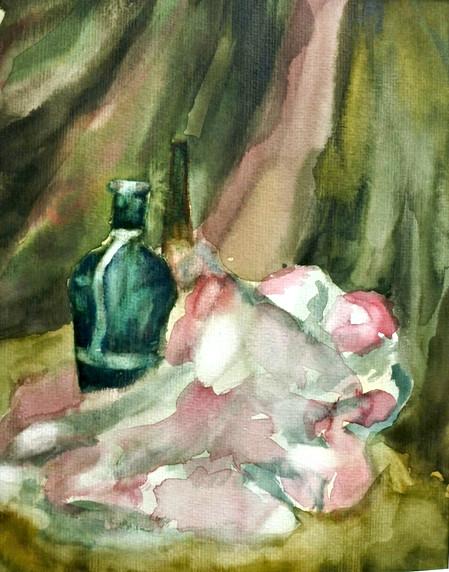 Grüne-Flasche-Mit-Rosa-Stoff-Barbara-Holter-Aquarell2018-Stillleben-Bilder-Österreich-Malerei-Malerin-Gemälde.jpg