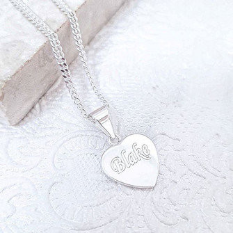Sterling silver engraved heart disc