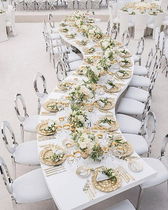 WHITE AND GOLD SERPETINE TABLE