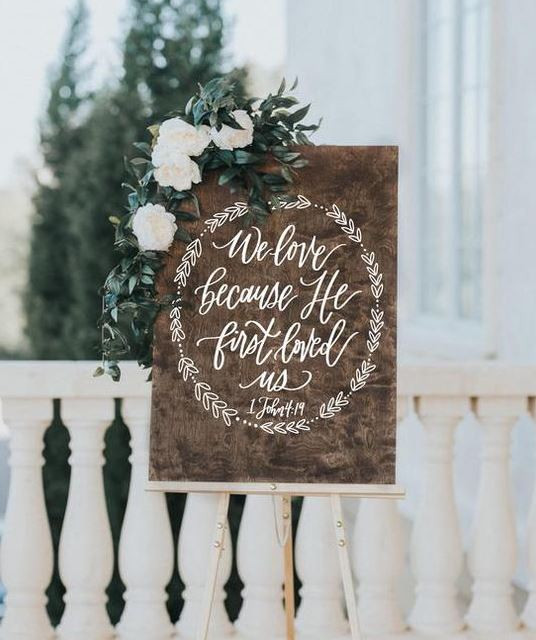 Wedding sign, wood sign, calligraphy sign, rustic sign, wedding greeting, signage, wedding easle, rustic weddng, bouncing letters
