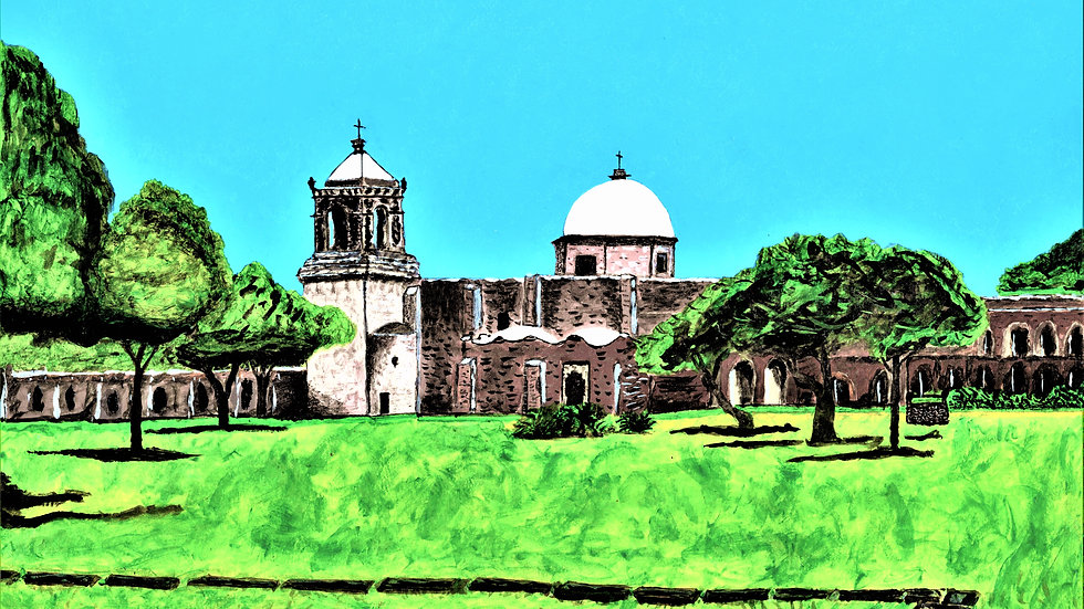 "Mission San Jose - San Antonio Tx - Acrylic painting ""Print"" on glossy paper."