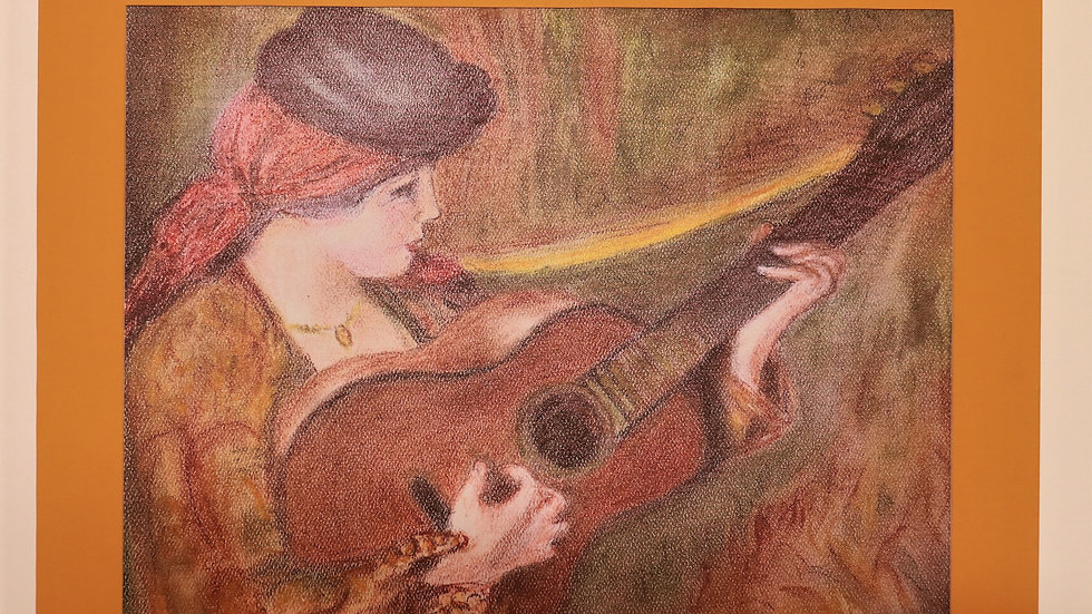 "Pastel Reproduction of Woman in Spanish Dress holding a guitar by Renoir ""Print"""