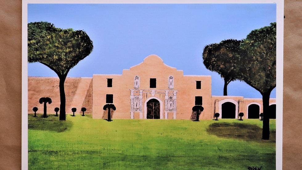 "The Alamo - San Antonio Tx - Acrylic Painting ""Print"" on canvas"