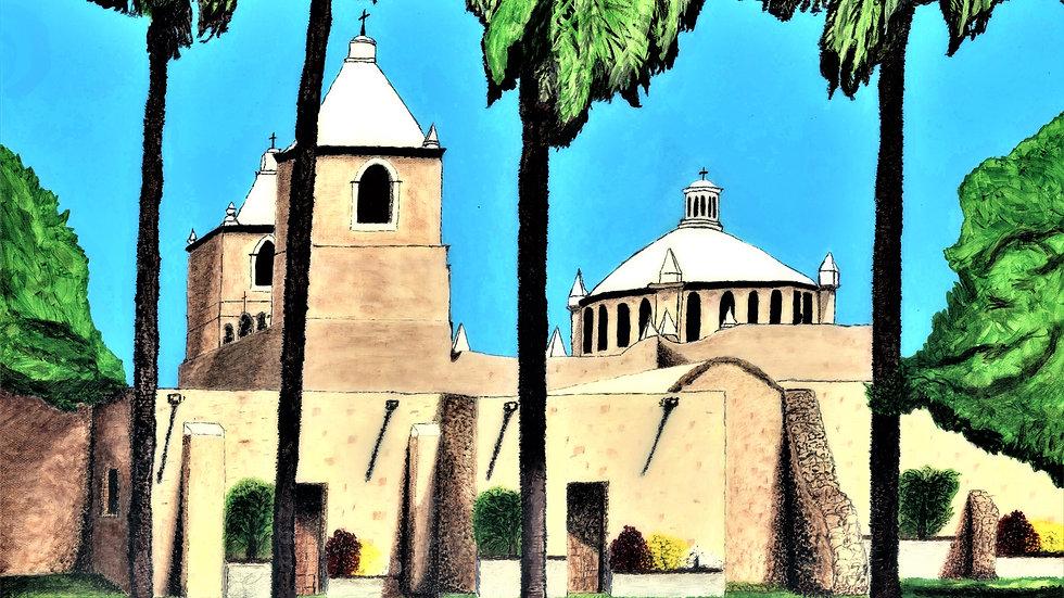 "Mission Concepcion - San Antonio, Tx - Acylic Painting ""Print"" on Paper Matte"