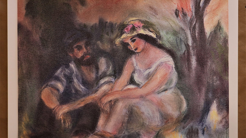 """Pastel Reproductio - Young Man Young Woman by Renoir """"Print"""""""